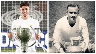 Fede Valverde y Santamaría posan con sus trofeos