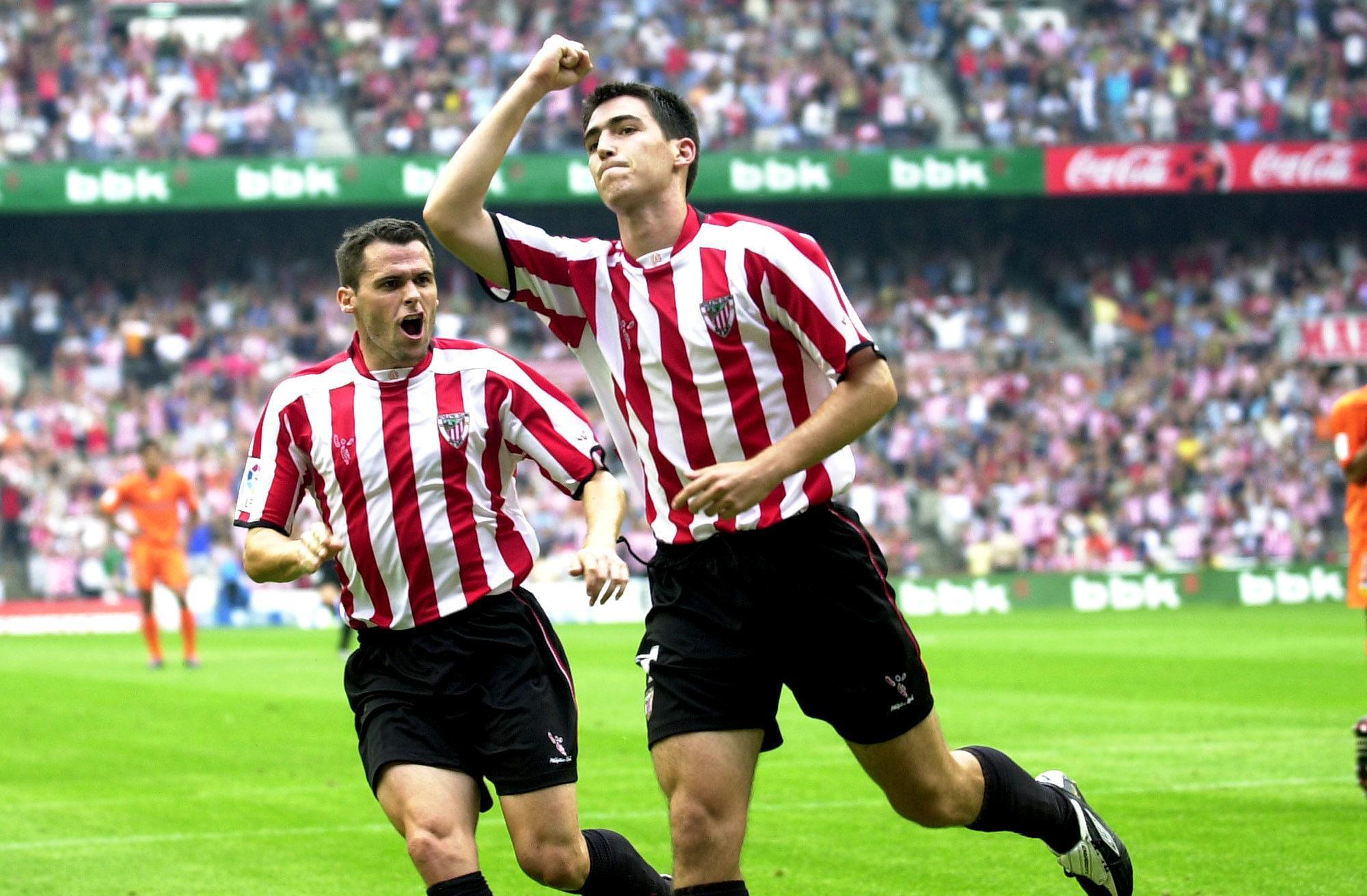 Iraola celebra un gol en San Mamés