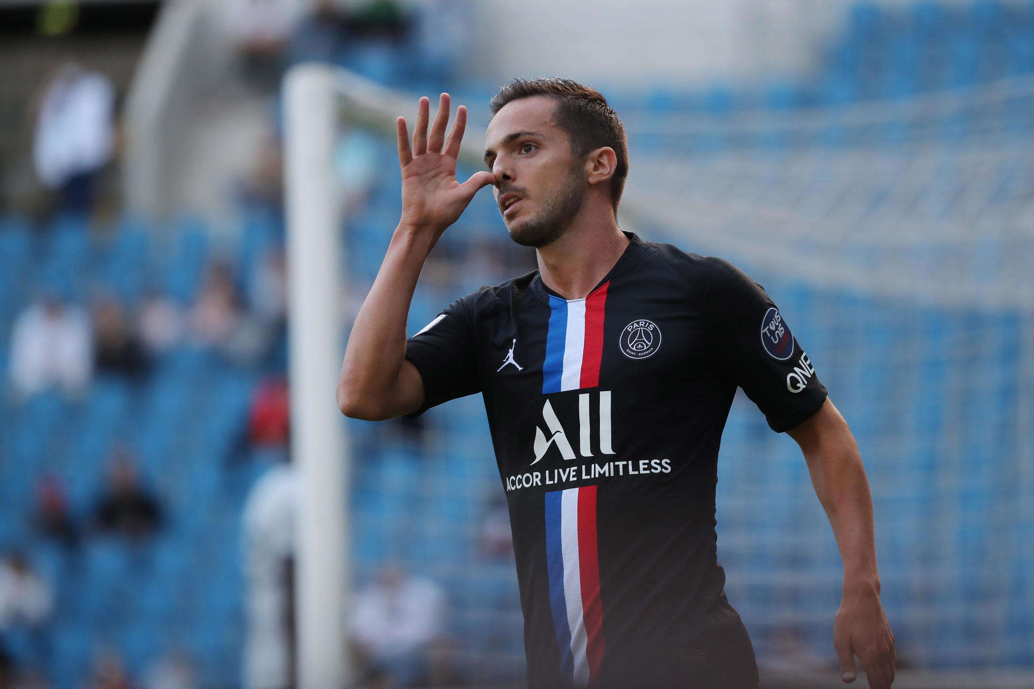 Le Havre (France), 12/07/2020.- Paris Saint Germains lt;HIT gt;Pablo lt;/HIT gt; lt;HIT gt;Sarabia lt;/HIT gt; reacts after his goal during the friendly soccer match between Le Havre AC and Paris Saint-Germain (PSG) at the Oceane stadium in Le Havre, France, 12 July 2020. The friendly match is the first to be played in front of a crowd of 5,000 spectators since March and the nationwide lockdown due to the ongoing coronavirus COVID-19 pandemic. (Futbol, Amistoso, Francia) EFE/EPA/CHRISTOPHE PETIT TESSON