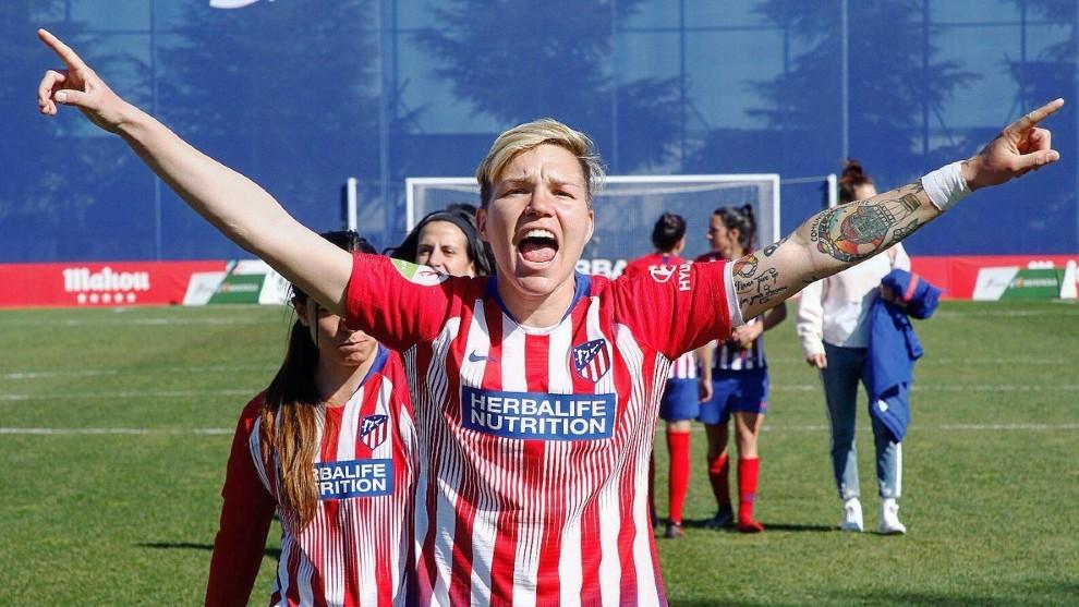 Elena Linari tras un partido con el Atlético de Madrid.