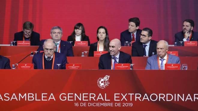 Luis Rubiales, en una Asamblea general extraordinaria de la RFEF.