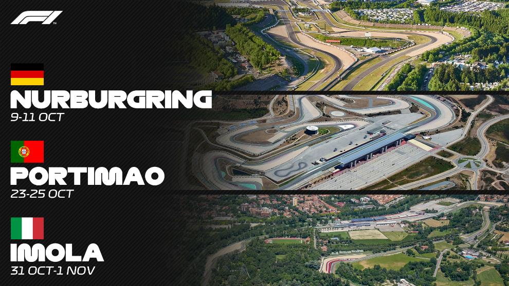 Los circuitos de Nurburgring, Portimao e Imola.