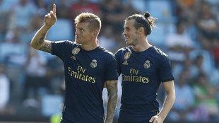 Kroos celebra el gol que marcó en Balaídos.