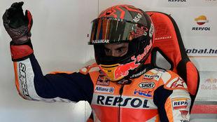 Marc Márquez, en su box en Jerez.