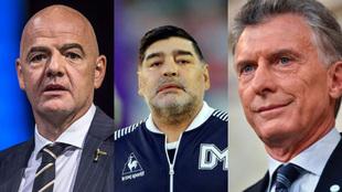 Gianni Infantino, Diego Armando Maradona y Mauricio Macri.