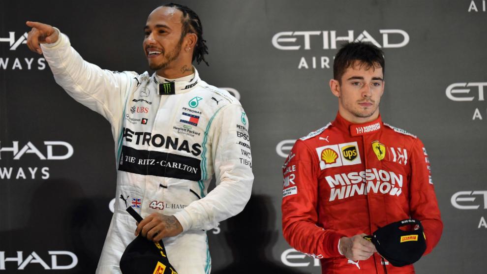 Lewis Hamilton y Charles Leclerc.