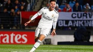 Franchu celebra un gol con el Real Madrid Castilla.
