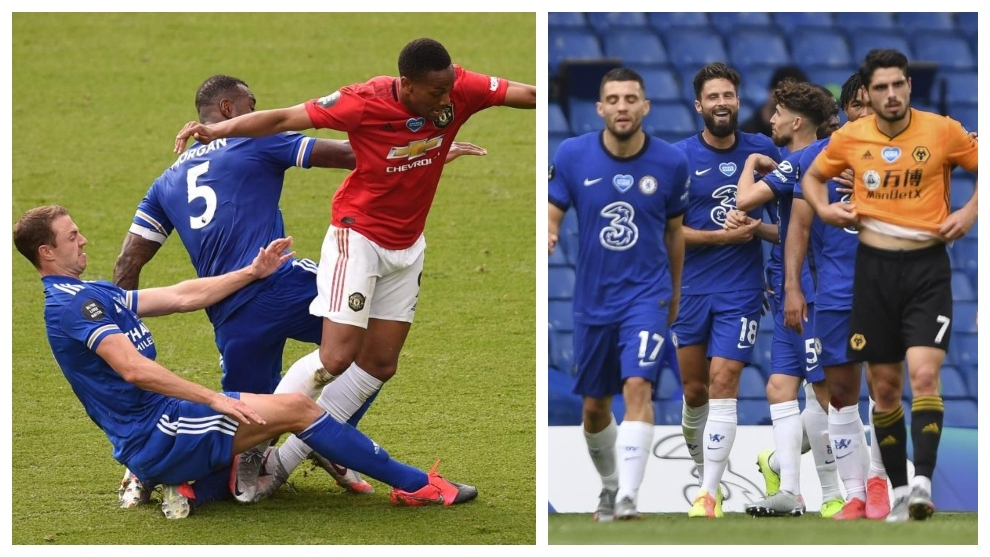 Martial es derribado por Evans y Morgan; los jugadores del Chelsea...