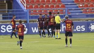 Los jugadores del Extremadura celebran un gol ante el Sporting.