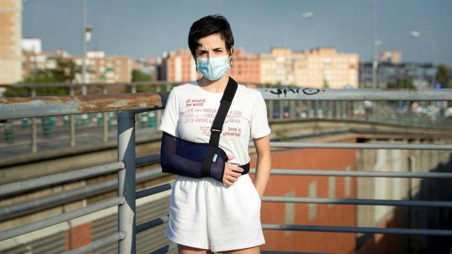 Sara Hurtado, a su llegada a Madrid.