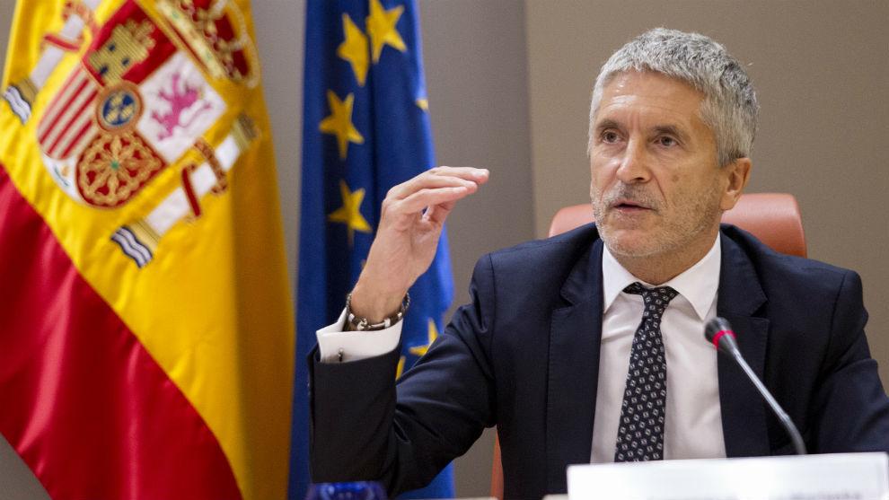 El ministro del Interior, Fernando Grande-Marlaska, durante la presentación del informe.