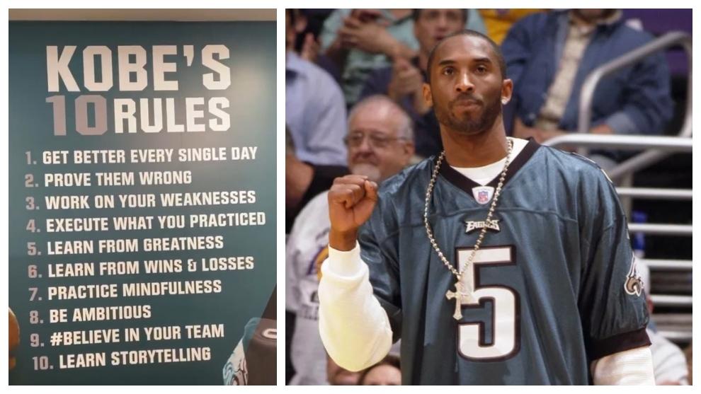 Los Eagles rinden tributo a Kobe Bryant con un mural llamado 'Kobe's 10 rules'