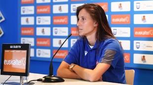 Gemma Gili durante una rueda de prensa en Zubieta.
