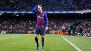 Arthur, en un partido del Barcelona