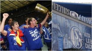 A la izquierda, Raúl con la DFB-Pokal. A la derecha, el Veltins...