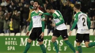 Jordi Figueras celebra uno de sus goles con el Racing de esta...