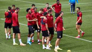 Los jugadores del Girona en un entrenamiento del mes de junio