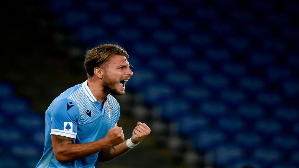 Immobile celebra su gol ante el Brescia