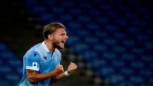 Immobile celebra su gol ante el Brescia.