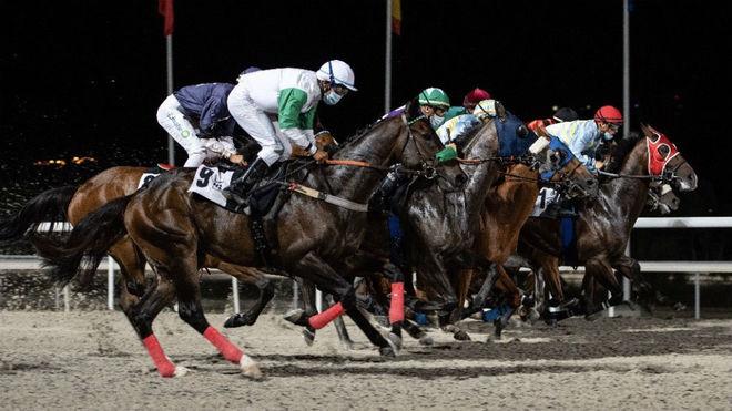 Una carrera nocturna en el hipódromo de La Zarzuela.