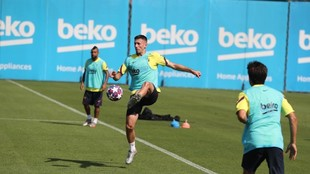 Lenglet, en la sesión del Barça de esta mañana.