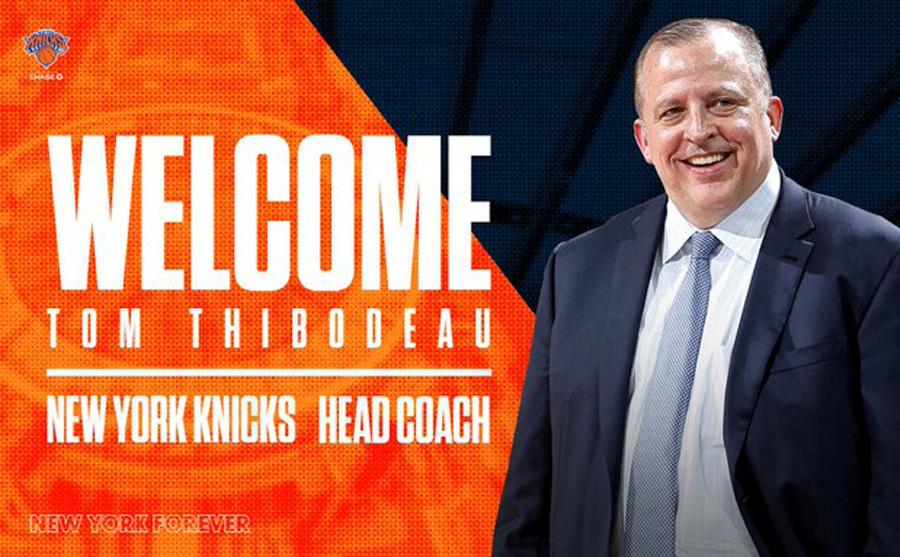 Cartel anunciando el fichaje de Thibodeau por los Knicks