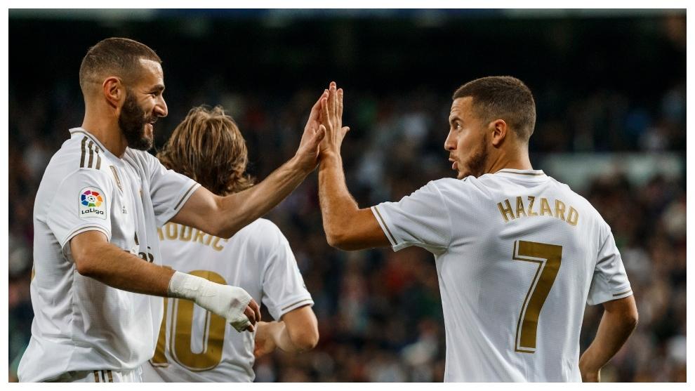 Benzema y Hazard celebran una combinaci