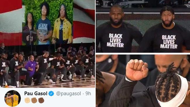 La NBA volvió 'de rodillas' contra del racismo con himnos al piano y a capella...