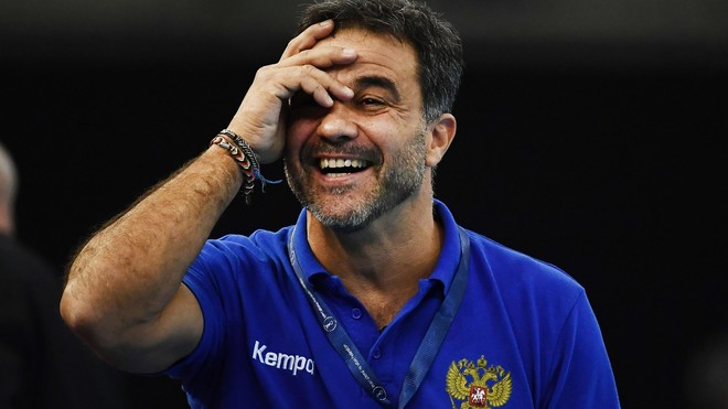 Ambros Martín, durante un partido con la selección de Rusia /