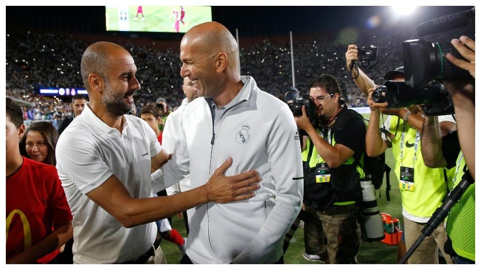 Guardiola y Zidane, antes de un partido.