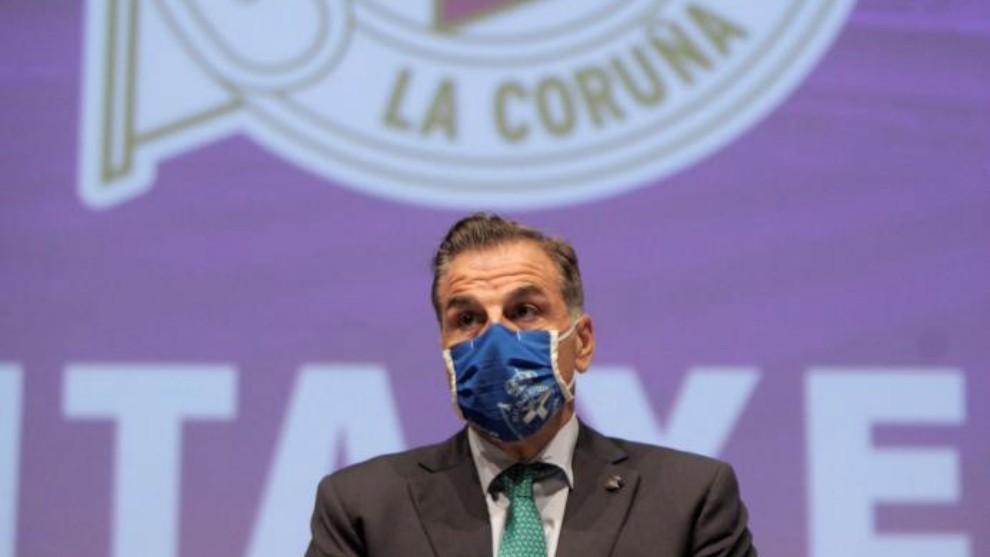El presidente del Deportivo, Fernando Vidal, durante una Asamblea