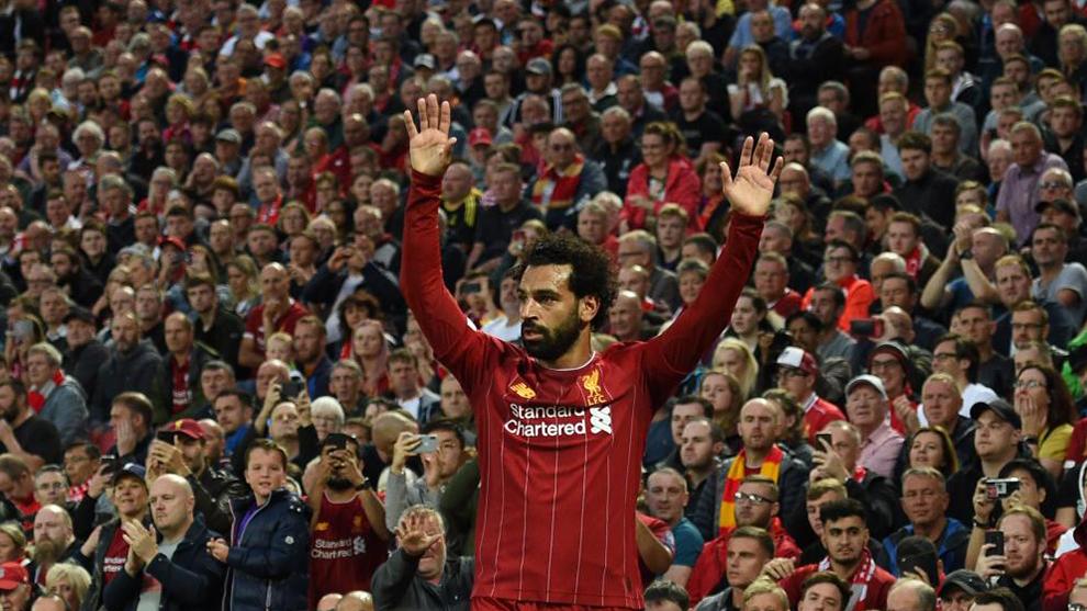 Mohamed Salah durante un partido de la Premier League (2019).