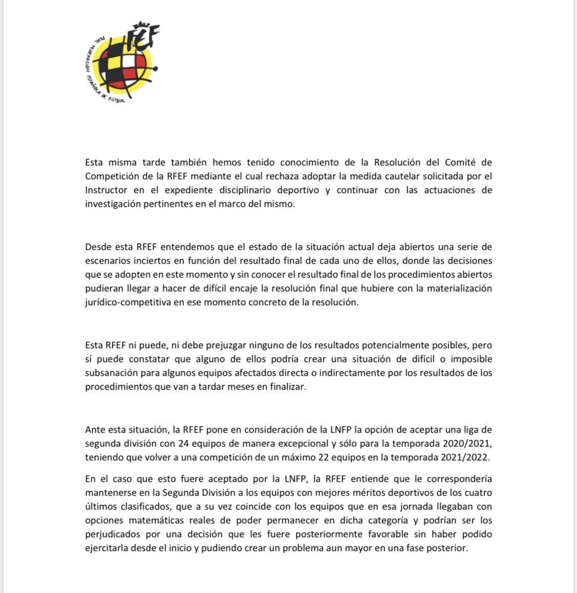 La RFEF pone en consideración ante LaLiga y el CSD una temporada de 24 equipos en Segunda 15962242243149