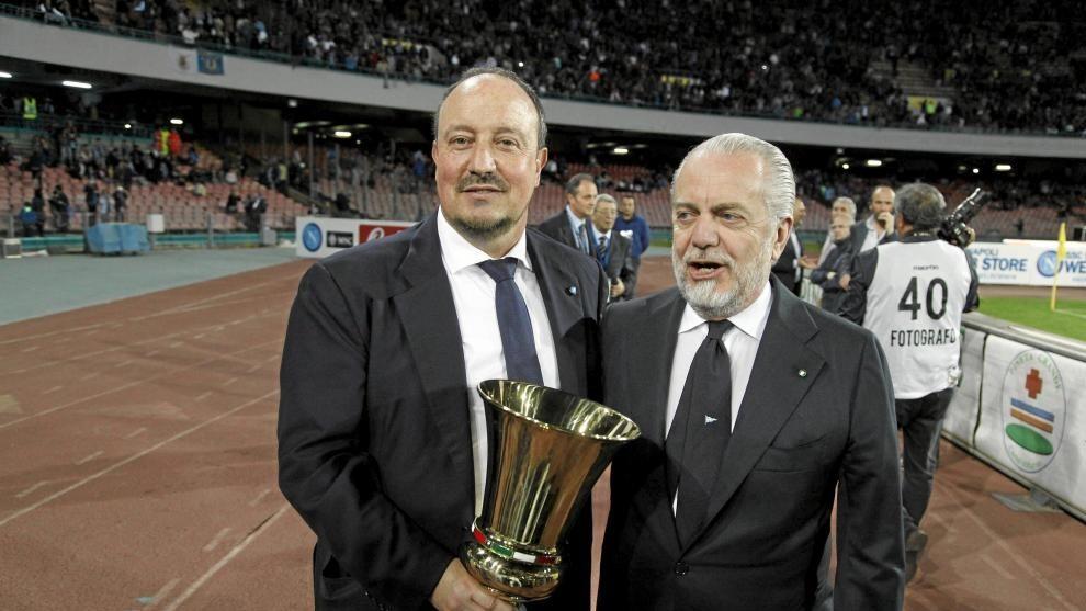 De Laurentiis con Benítez, ex técnico del Nápoles