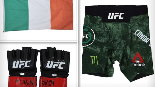 Los guantes y los 'shorts' usados por McGregor en su última pelea.