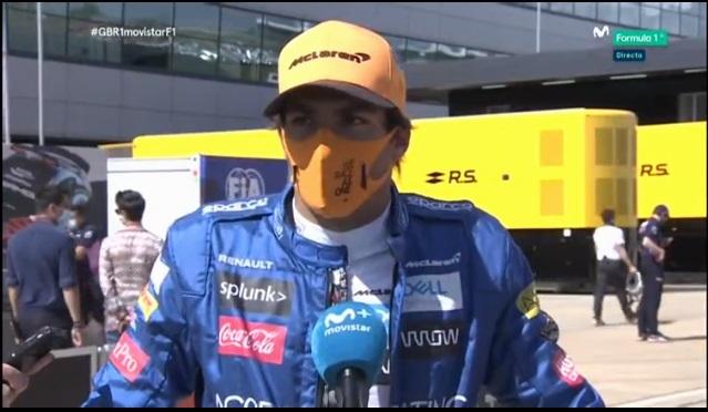 Carlos Sainz, tras la calificación del Gran Premio de Gran Bretaña.