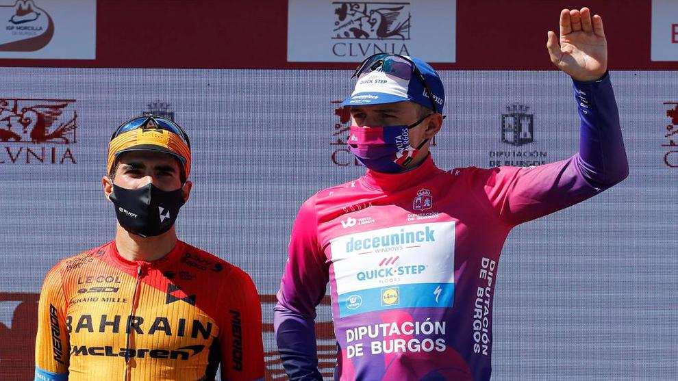 Landa y Evenpoel en el podium de Burgos.