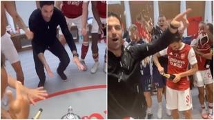 Así fue el fiestón del Arsenal en vestuarios: el bailecito de Arteta se hará viral