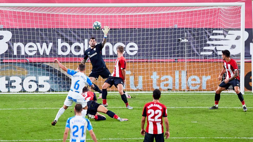 Herrerín, en su último partido en San Mamés contra el Leganés.