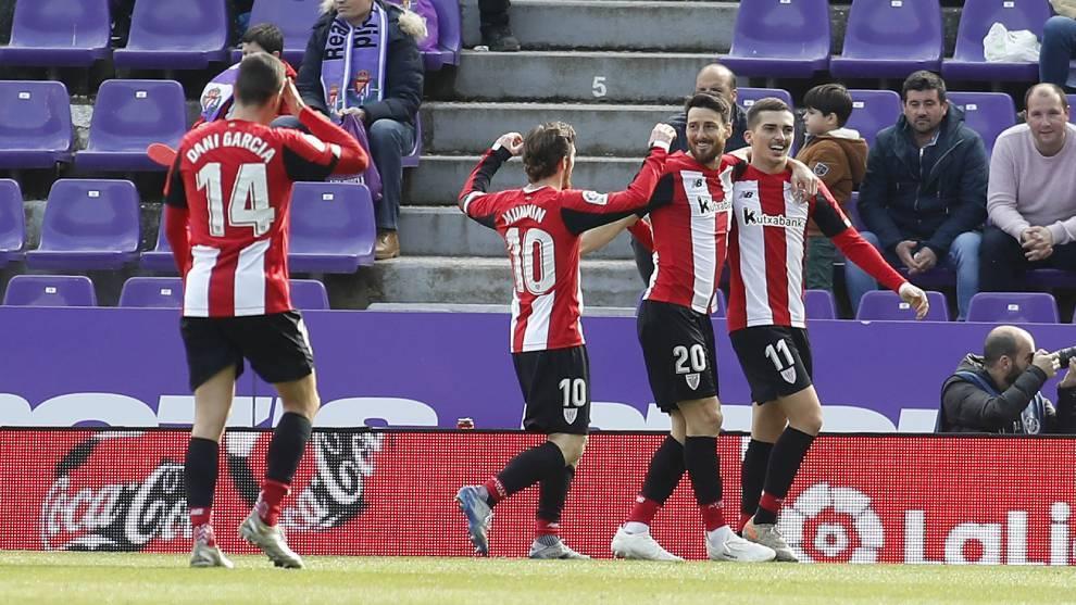 El Athletic celebra un gol ante el Valladolid