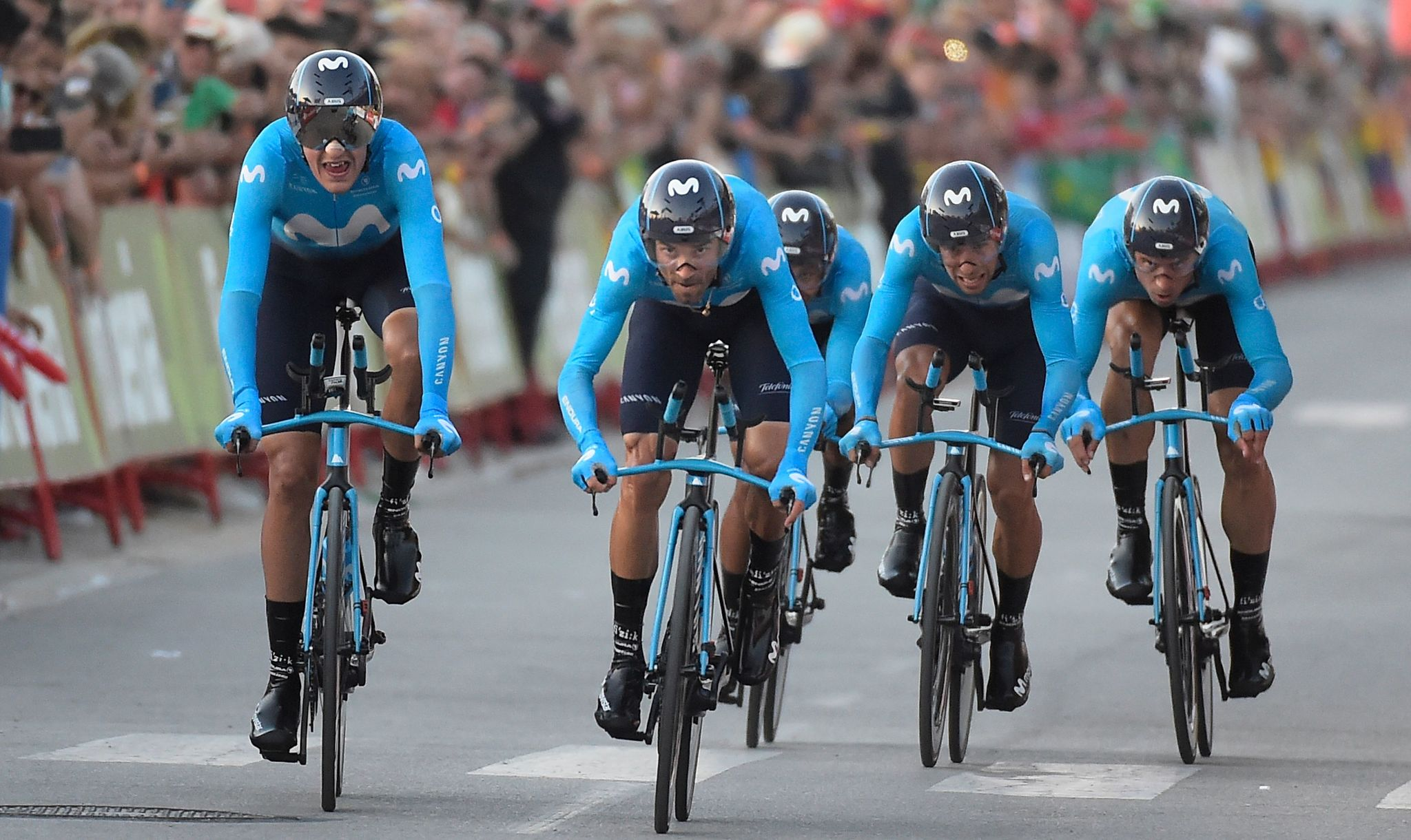 El equipo Movistar durante la Vuelta a España en 2019