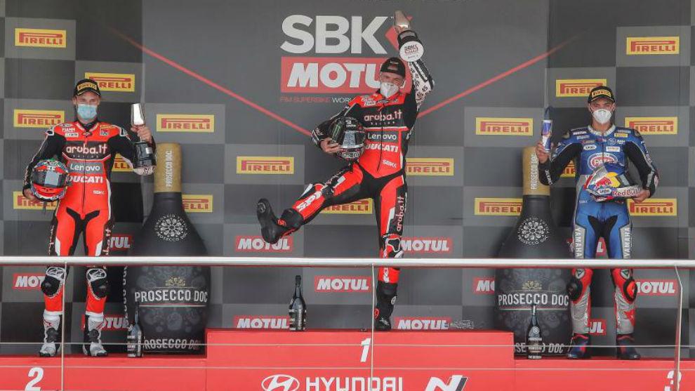 Redding, celebrando la victoria en Jerez.