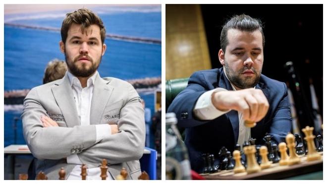 Carlsen y Nepomniachtchi.