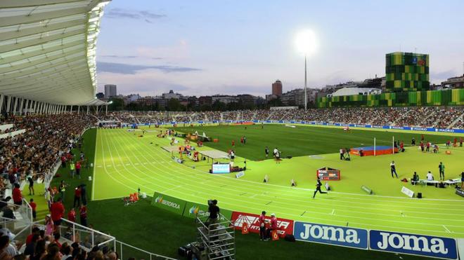 Vista del nuevo Estadio Vallehermoso el día de su inauguración en...