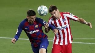 Lenglet, durante el encuentro contra el Atlético de Madrid.