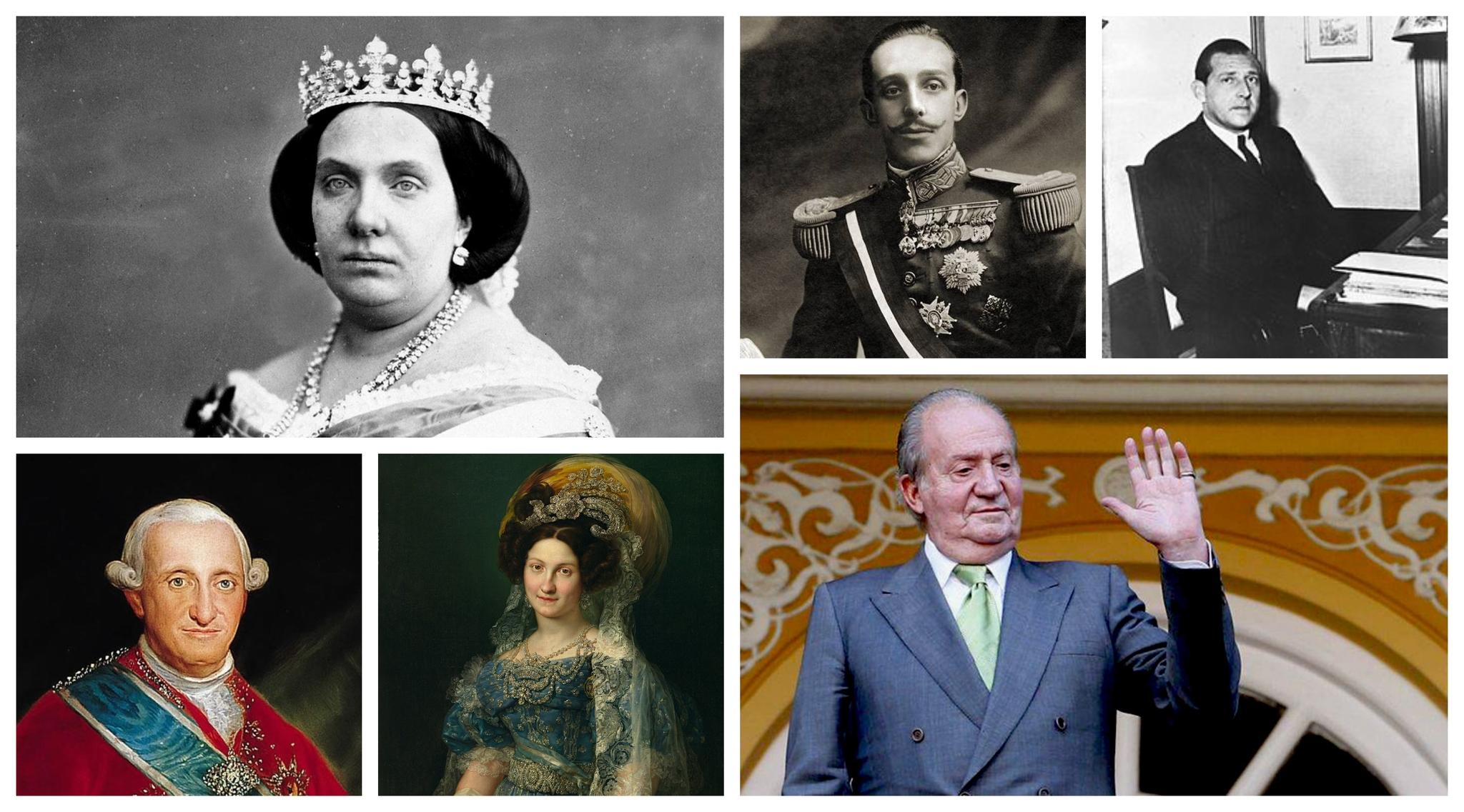 Isabel II, Carlos IV, María Cristina de Borbón, Alfonso XIII, Juan...