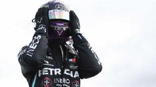 Hamilton, asombrado por su victoria del domingo en Silverstone.