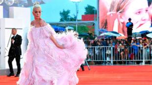 La cantante estadounidense lució un diseño rosa emplumado de...