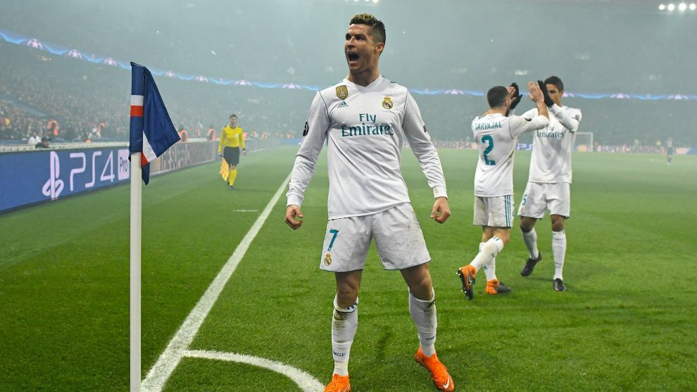 Cristiano Ronaldo celebrates against PSG.