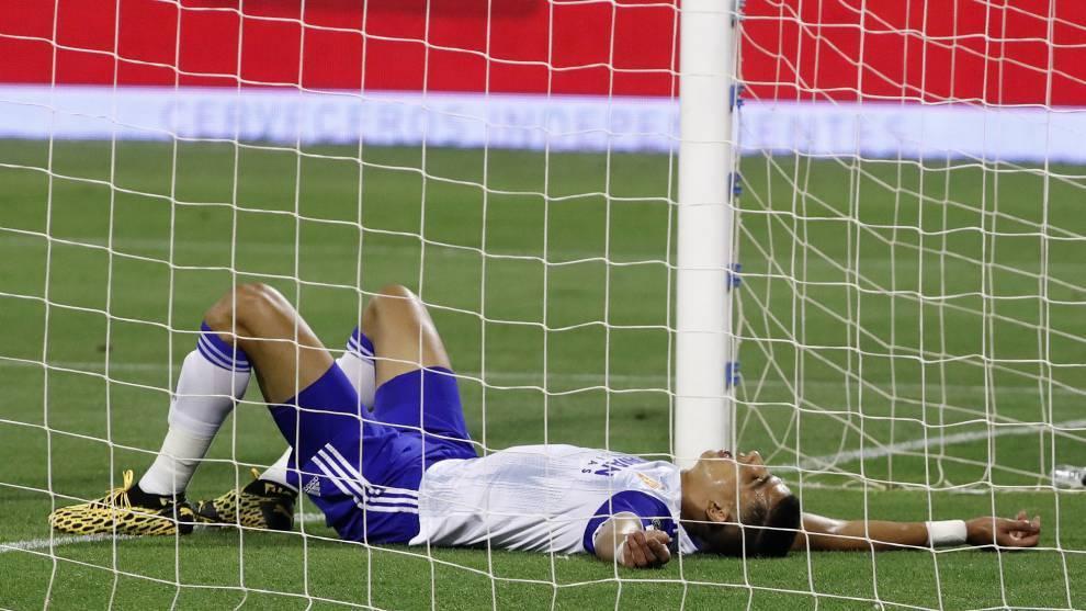 El Yamiq, durante un partido con el Zaragoza. Toni Galán / MARCA